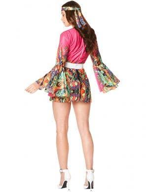 Vibrant Pink 1970's Women's Hippie Dress Up Costume