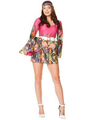 Colourful Pink Hippie Women's 1970's Costume - Main Image