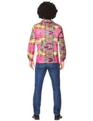 Flower Power Men's Pink 70's Hippie Costume Shirt