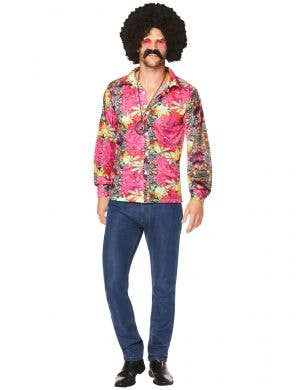 Floral Pink 1970's Hippie Costume Shirt for Men - Main Image