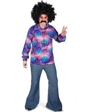 Blue and Purple Hippie Costume Shirt for Men - Main Image