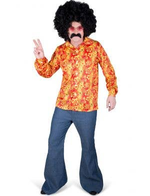 Mens Orange Groovy Hippie Costume Shirt - Main Image