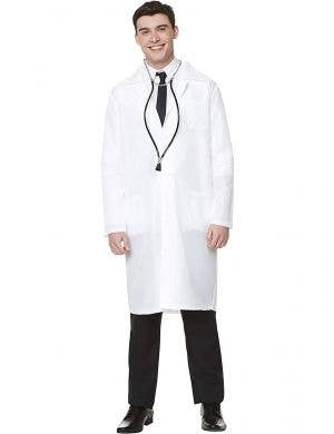 Mid Length White Doctor's Lab Coat Occupation Costume for Men - Main Image