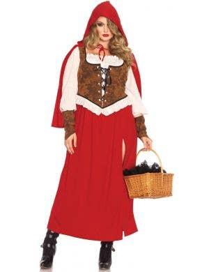 Long Red Riding Hood Plus Size Women's Costume Main