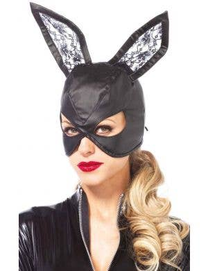 Faux Leather Women's Black Bunny Costume Mask
