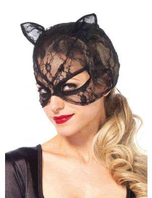 Black Lace Women's Cat Mask with Ears Front View
