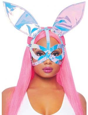 Strappy Pink Holographic Bunny Ears Costume Mask