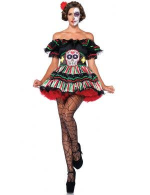 Women's Sexy Day of The Dead Sugar Skull Costume Main Image
