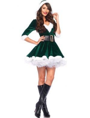 Sexy Green Velvet Santa Women's Christmas Costume Main Image