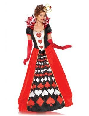 Deluxe Full Length Queen of Hearts Women's Costume Front View