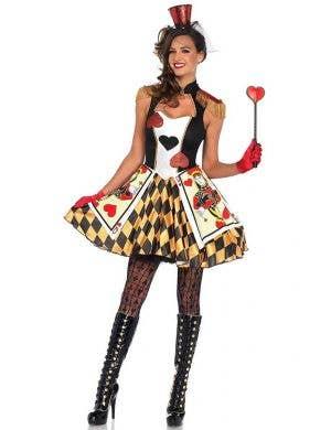 Women's Alice in Wonderland Red Queen Card Guard Costume Front