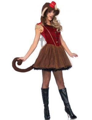 Women's Sexy Wind Up Monkey Fancy Dress Costume Front Image