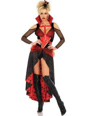 Women's Rebel Red Queen of Hearts Steampunk Wonderland Costume Main Image