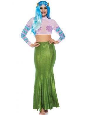 Shimmer Green Spandex Women's Plus Size Mermaid Skirt