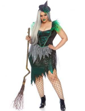 Women's Sexy Plus Size Green Wicked Witch Halloween Costume Front Image