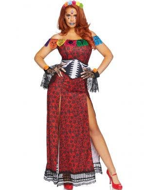 Women's Sexy Red and Black Day of the Dead Halloween Costume - Image 1
