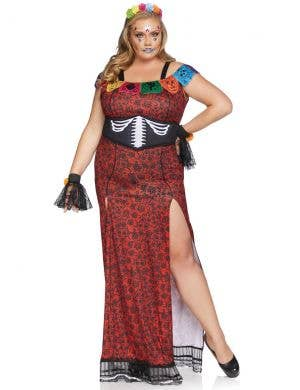 Women's Plus Size Red and Black Day of the Dead Costume - Image 1
