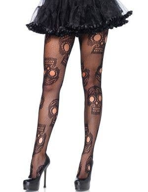 Sugar Skull Day of the Dead Women's Black Netted Pantyhose Stockings