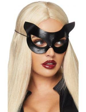 Vinyl Black Cat Mask Costume Accessory