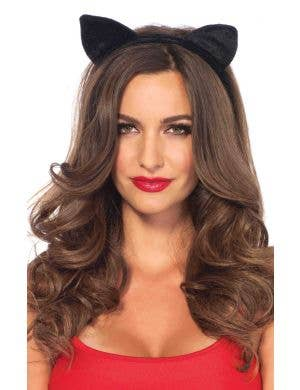 Black Cat Ears on Headband Costume Accessory
