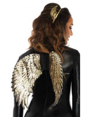 Women's Black and Gold Angel Wings Costume Accessory - Main Image
