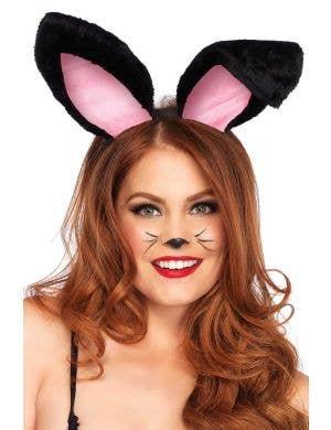 Plush Black Bunny Rabbit Ears Headband Costume Accessory