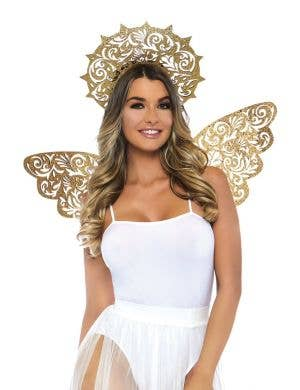 Glitter Gold Angel Halo And Wings Costume Accessory Set