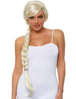 Women's Long Blonde Dual Braid Ponytail Costume Wig View 1