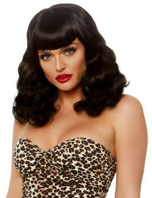 Retro Women's Black Bettie Page Pinup Costume Wig