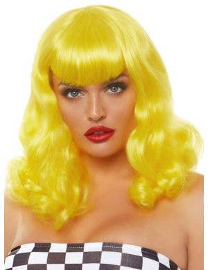 Retro Women's Yellow Curly Pinup Costume Wig
