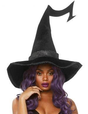 Oversized Large Black Velvet Witch Hat Costume Accessory