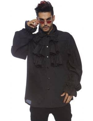 Victorian Gothic Ruffled Black Men's Costume Shirt