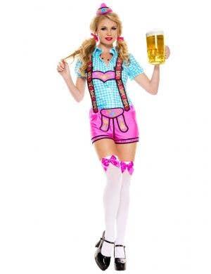 Women's Sexy Pink and Blue Lederhosen Oktoberfest Costume Front Image