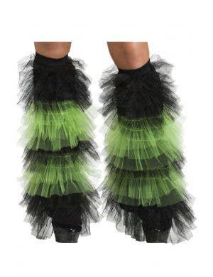 Glitter Orange and Black Boot Covers Costume Accessory - Main Image