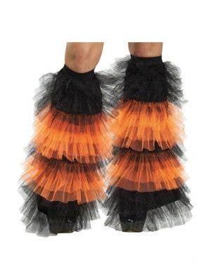 Ruffled black and purple tulle boot covers women's costume accessory-Main Image