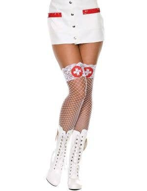 Nurse Lace Top White Fishnet Thigh High Stockings