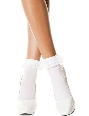Lace Ruffle Women's White Opaque Anklet Stockings
