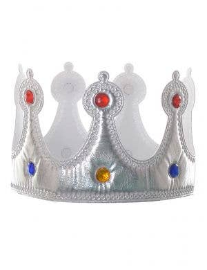 Silver Metallic Plush Crown Costume Accessory with Jewels