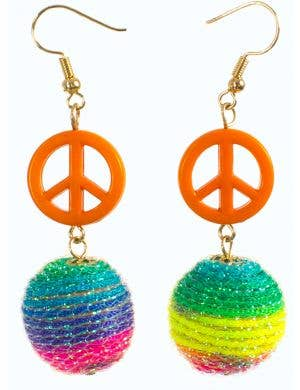 Rainbow Bauble and Peace Sign Earrings