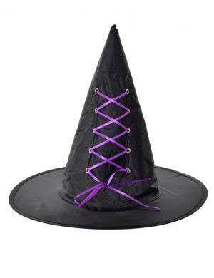 Budget Black and Purple Halloween Witch Costume Hat Accessory