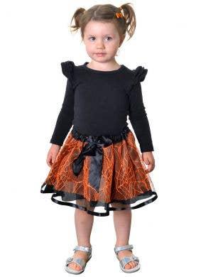 Spiderweb Kids Toddler Tutu Skirt in Orange and Black