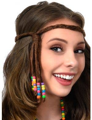 Suede Look Brown Plaited 70's Hippie Headband with Beads