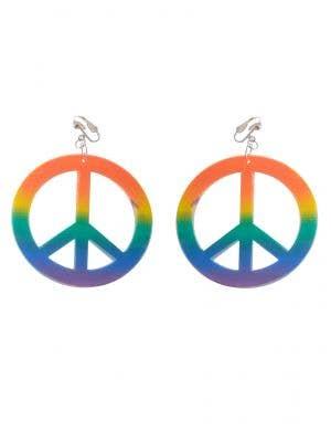 Rainbow Peace Sign Clip On Earrings Costume Jewellery