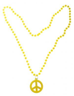 1970s Yellow Peace Sign Hippie Necklace Costume Accessory