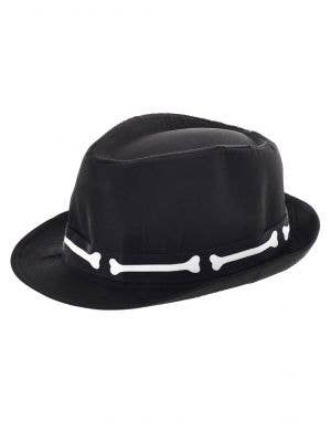Day of the Dead Black Costume Fedora with Bone Band