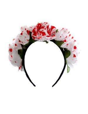 Blood Splattered White Rose Headband Halloween Costume Accessory