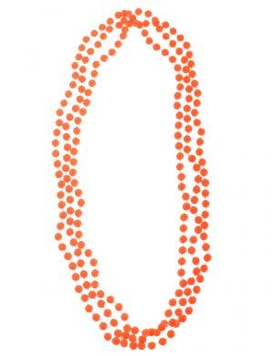 Neon Orange 3 Strand Beaded 80s Necklace Costume Accessory