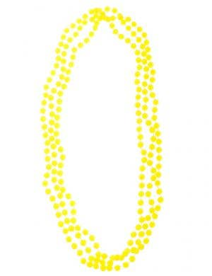 Neon Yellow 3 Strand Beaded 80s Necklace Costume Accessory
