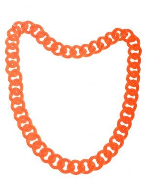 80's Chunky Neon Orange Necklace Costume Accessory