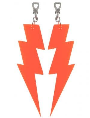Small Neon Orange 80s Lightning Bolt Costume Earrings